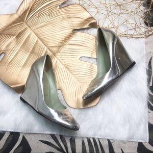 Prada Metallic Wedge Heel